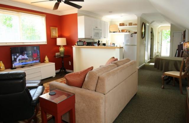 living area and full kitcehn